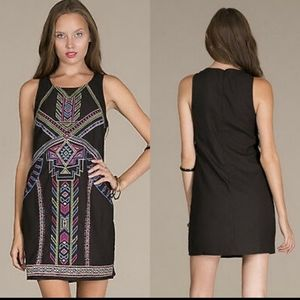 Flying Tomato Black Aztec Dress embroidered small